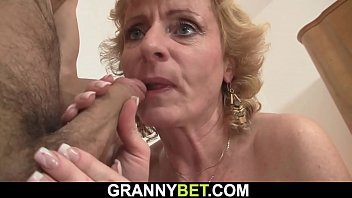 Slim mature blonde woman is picked up for play