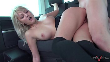 Hard Cock Painter Her Thigh With Hot Jizz After Fucking Her In His Van