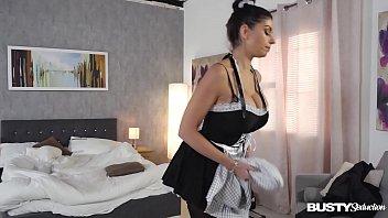 Busty seduction Krystal Webb fills her wet maid pussy with black vibrator