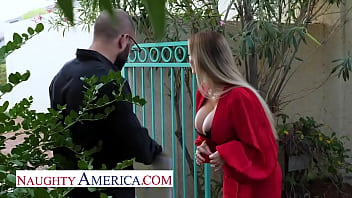 Naughty America - Casca Akashova, beautiful blonde bombshell gets a big thick cock for her MILF pussy