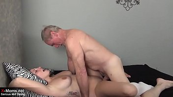 Sexy young brunette Milf has nice sexdate with an old grandpa