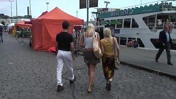 scandi teen anal threesome in public