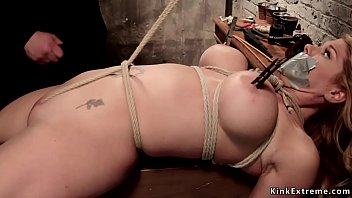 Crotch rope big tits blonde on hogtie