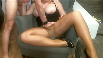 Sex on the armchair. Wife in pantyhose pussy licking orgasm