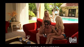 Two blonde bombshells get horny &amp_ start HOT pool side threesome
