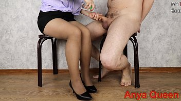 She put on a skirt, tights to handjob to a friend and he cum on..Anya Queen 5 min