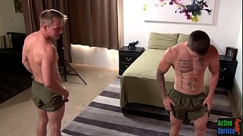 Gay community activities Muscly army twink tugs on hard dick