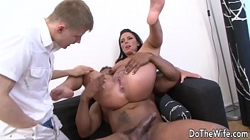 Into her asshole Brunette wife tiffany takes large black cock in her ass