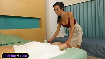 Mature ladyboy massages and fucks guy with her big cock thumbnail