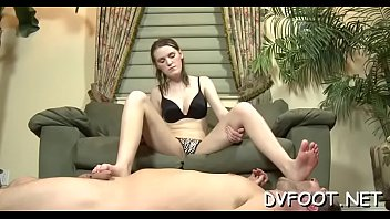 Beauty getting feet licked