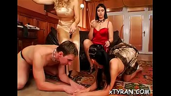Naughty mistress dominates man