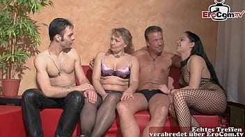 German swinger party with couples and a mature housewife 19 min