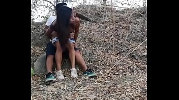 Young exhibitionists fucking in the forest