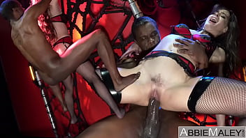 Petite Brunette Destroyed In A Web By 11 Inch Black Cock - Abbie Maley