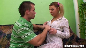 Ponytailed Horny Stepsister Gets Tight Anal Fucked