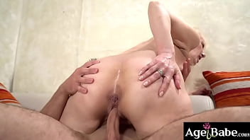 Blonde granny Nanney gets fucked by Rob's hard cock