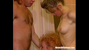 Threesome Bathroom Fuck With Sexy Blonde Mature