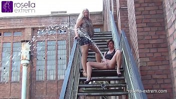 Teen girls in highheels - Public far piss challenge roxy vs. rosella