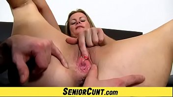 Playing with hot blonde Milf pussy featuring Milf Denisa