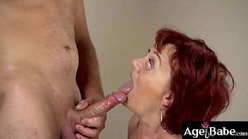 Young Rob moans as he showere granny Marsha with his sticky load