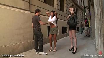 Busty Latin babe public anal fucked