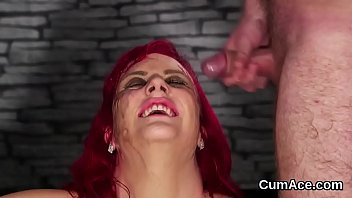 Wacky bombshell gets cumshot on her face swallowing all the semen