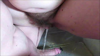 Hairy Pussy Wife Pissing on Husbands Cock