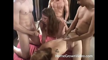 Real amateurs having an orgy with four beautiful women