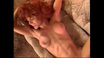 Fit redhead spreads her legs wide open for his fat black cock