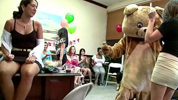 DANCING BEAR - Alaina Brooke's CFNM Fiesta With Big Dick Male Strippers!