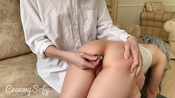 Teacher caught me jerking off and spanked on juicy ass