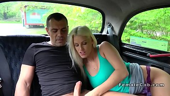 Blonde fake taxi driver gets creampied
