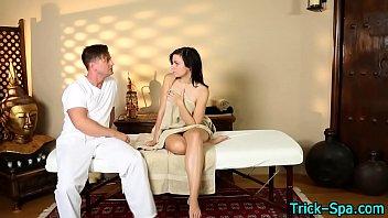 Hot teen wanks masseur