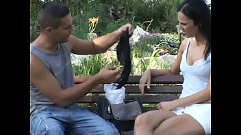 Horny stud is banging sexy European babe Brenda Black in doggy style outdoors
