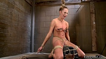 Blonde is tight tied on Sybian