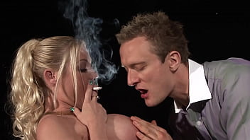 Big boobed sexy blonde fucked while smoking
