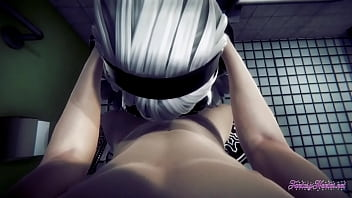 Nier Automata Hentai - POV 2B boobjob, blowjob and fucked - Japanese manga anime porn