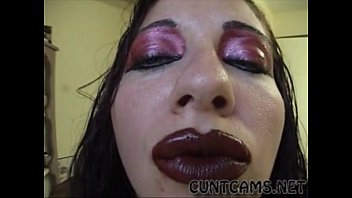 Gothic Slut Puts on Her Dick Sucking Lipstick - More at cuntcams.net
