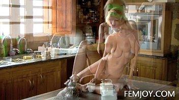 Slim D Cup Sabina Making Coffee Nude
