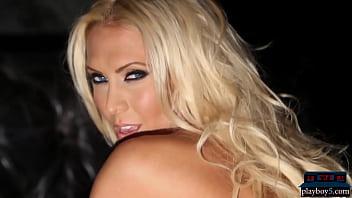 Gorgeous big tits blonde MILF model Jennifer Vaughn strips