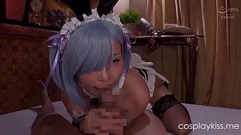Re Zero Rem gives head to an adventurer parody cosplay porn