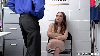 Brunette female thief cums hard on the security officers huge man meat