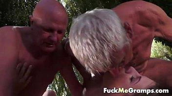 Teen fucks two old man in threesome thumbnail