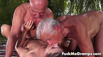 Gramps fucked me - Teen fucks two old man in threesome