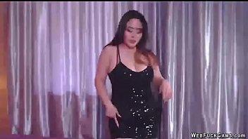 Busty Asian bbw camgirl dancing