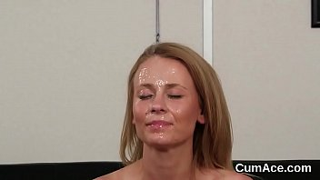 Unusual babe gets jizz load on her face swallowing all the jizz