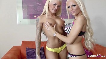 Real German Teen Girl Tight Tini and Madina Fynja at First Lesbian Sex Casting in Hamburg
