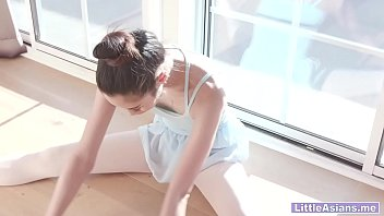 Tiny Asian teen ballerina gets destroyed by a huge cock