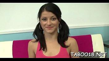 Sexy brunette hair teen likes the taste of a huge throbbing shaft