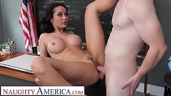 Naughty America - Hot Russian teacher, Crystal Rush, drains her student's balls
